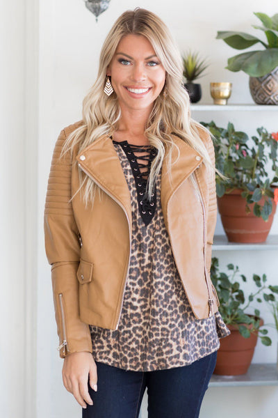Take a Ride With Me Faux Leather Jacket in Camel - Filly Flair