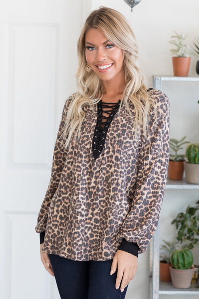Be Obsessively Grateful Animal Print Top With Black Front Lace Up Accent - Filly Flair