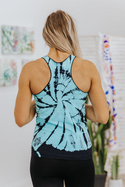 Guess What Seamless Tie Dye Tank Top in Turquoise - Filly Flair