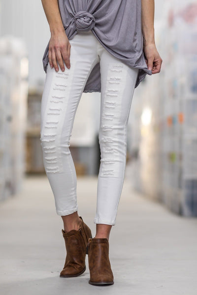 Keep Me In Mind Distressed Jeggings in White - Filly Flair