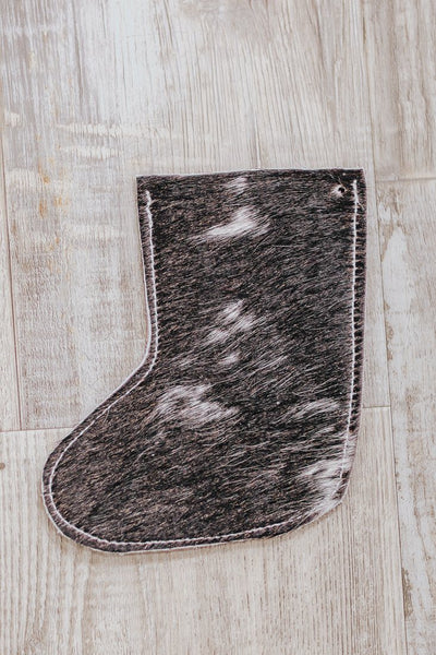 Leather Hair on Hide Christmas Stocking in Red - Filly Flair