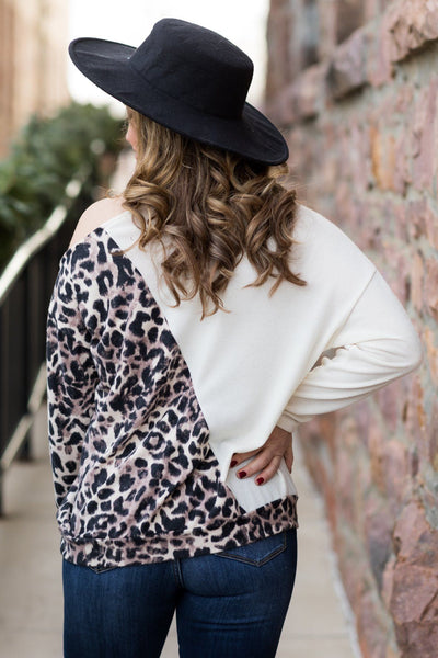 Feeling Myself Cold Shoulder Sweater in Cream - Filly Flair