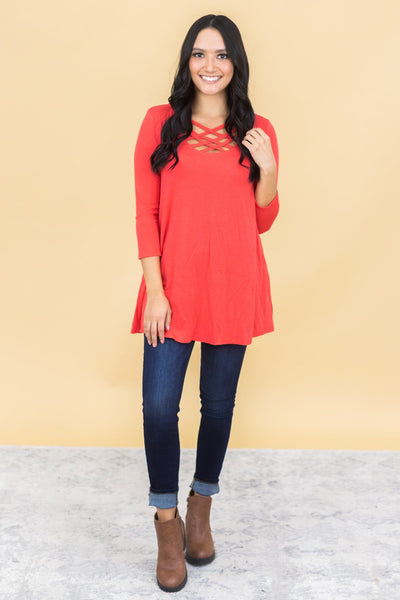 Always Love You Criss Cross V-Neck 3/4 Sleeve Top in Red - Filly Flair