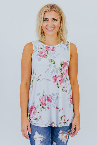 Say You Are Crazy Floral Print Sleeveless Top in Ivory - Filly Flair