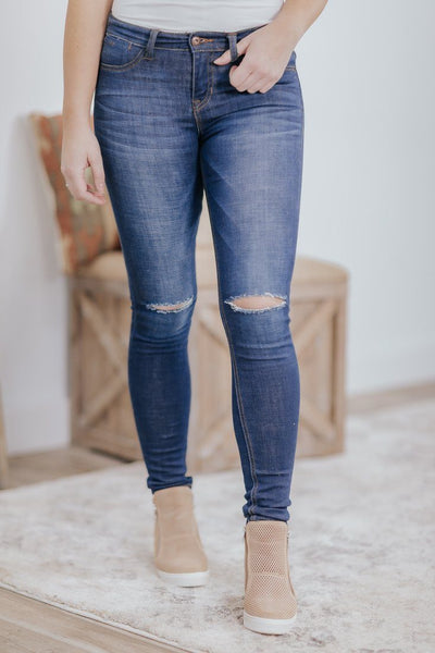 Sydney Sneak Peek Mid Rise Dark Wash Distressed Skinny Jeans - Filly Flair