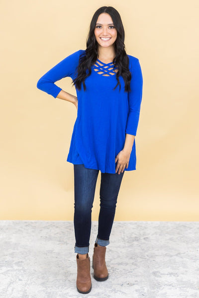 Always Love You Criss Cross V-Neck 3/4 Sleeve Top in Royal Blue - Filly Flair