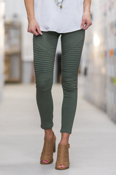 Take Me As I Am Moto Jeggings in Olive - Filly Flair