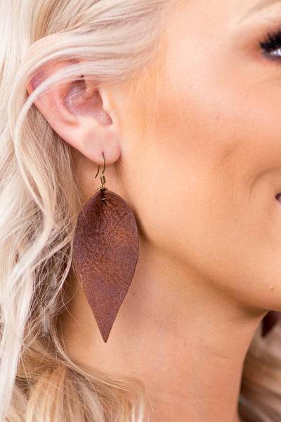 Brown Leather Petal Earrings - Filly Flair