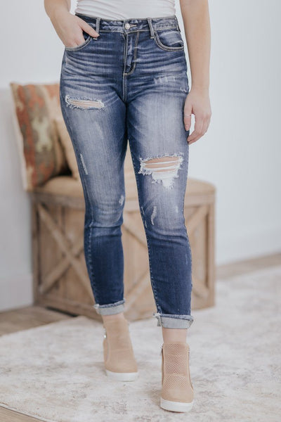 Cai Cello High Rise Distressed Dark Wash Skinny Jeans - Filly Flair