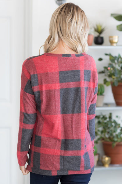 Don't Mind If I Do Plaid Top With Side Gather And Buttons In Red - Filly Flair