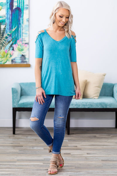 The Rest Don't Matter Strappy Criss Cross Cold Shoulder Top in Turquoise - Filly Flair