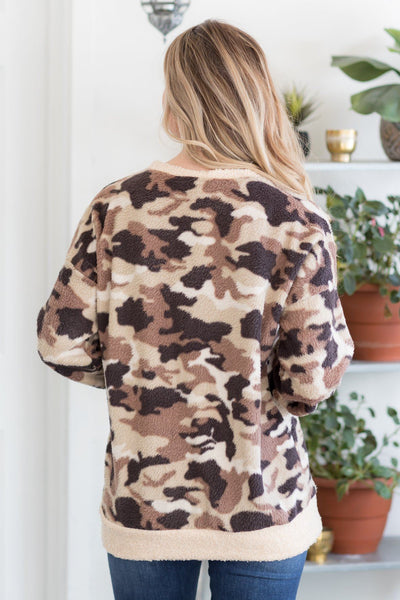 Let's Just Dance Camouflage Pull-Over In Mocha - Filly Flair