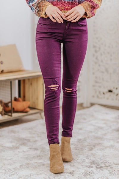 Strong Mind Denim Pants in Purple - Filly Flair