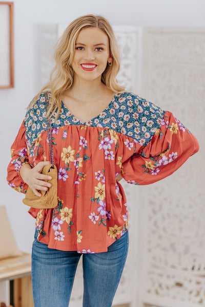 Finding Myself Floral Puff Long Sleeve Blouse in Rust - Filly Flair