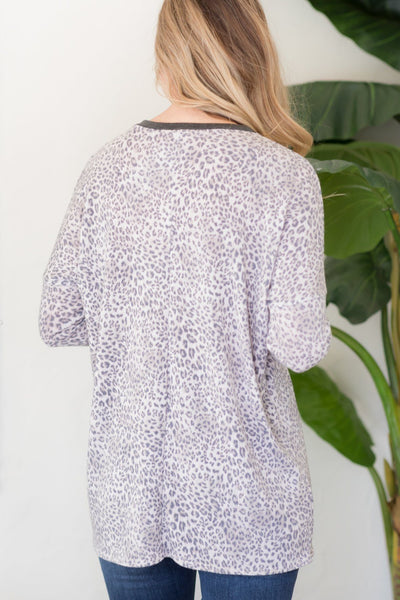 Be Who You Are Cheetah Print Long Sleeve Top in Taupe - Filly Flair