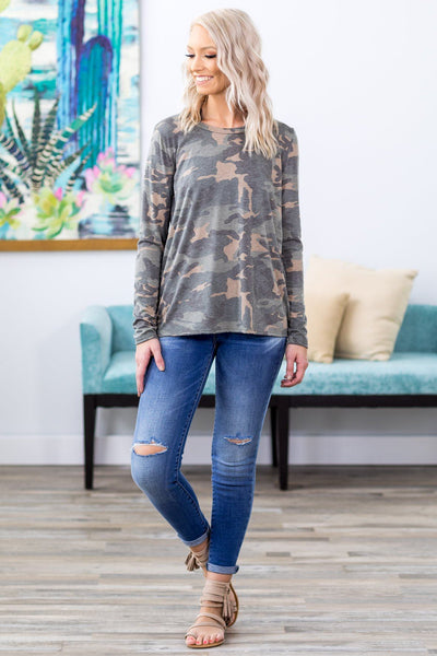 Taking Chances Slit Cut Back Long Sleeve Top in Camo - Filly Flair