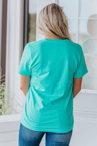 A Lot Of Fight Left Aztec Skull Detail Short Sleeve Top in Turquoise - Filly Flair