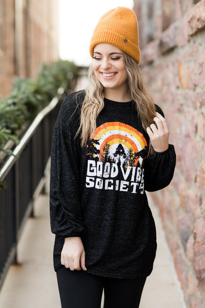 """GOOD VIBES SOCIETY"" Graphic Long Sleeve Tee in Black - Filly Flair"
