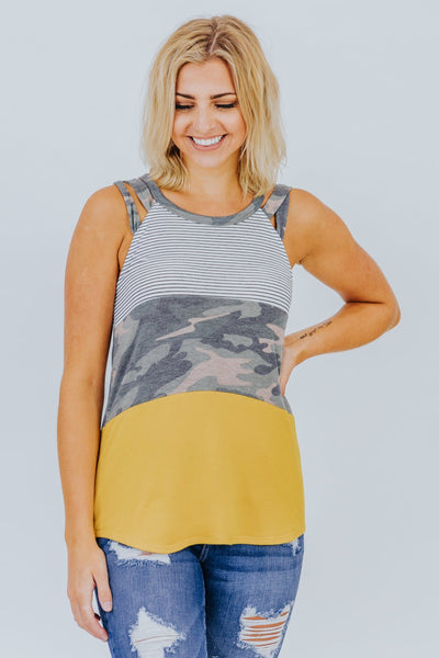 Gotta Get Up Color Block Tank Top Stripe Camo in Mustard - Filly Flair
