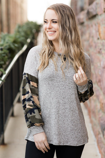 Life Is A Party Camo Long Sleeve Top in Grey - Filly Flair