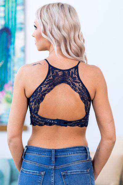 Love Wins High Neck Keyhole Floral Lace Bralette in Navy - Filly Flair
