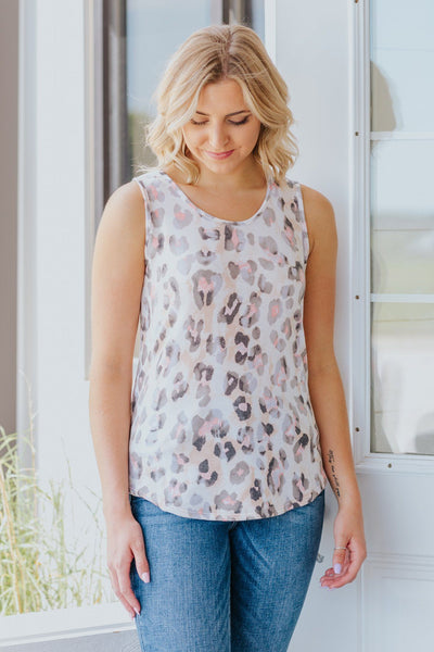 I Want To See Smile Leopard Print Tank Top in Taupe - Filly Flair