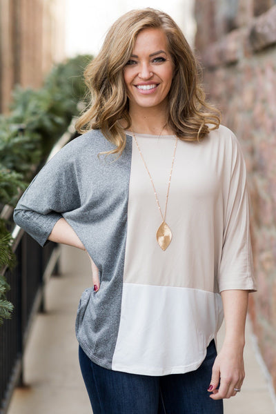 I'll Be There Color Block Dolman Short Sleeve Top in Taupe - Filly Flair