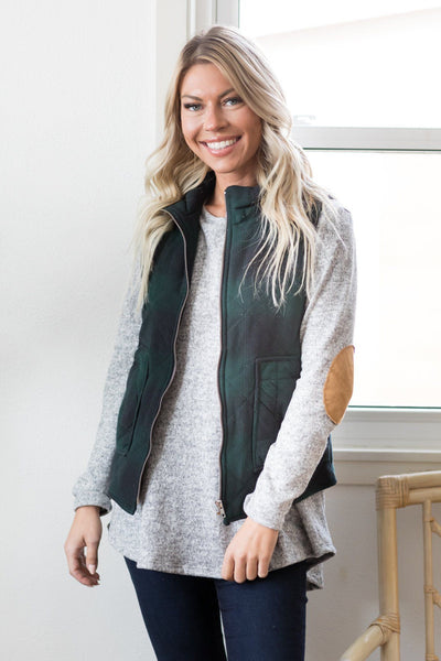 Let Me See Your Dance Moves Vest in Green And Black Plaid - Filly Flair
