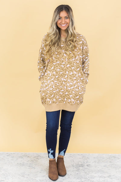 You Can't Touch This Camel And Pink Animal Print Sweatshirt - Filly Flair