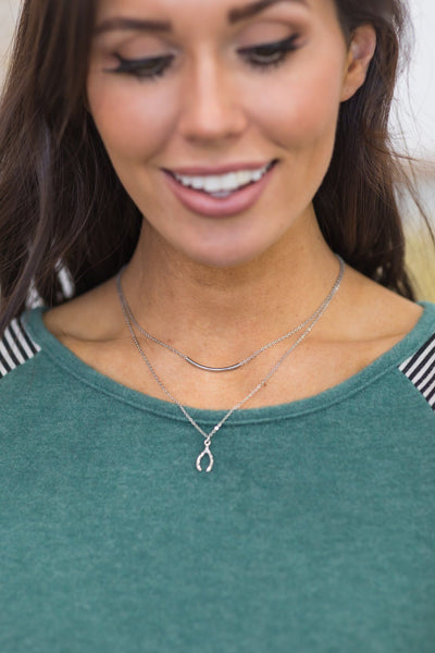 Keeping Promises Layered Wishbone Bar Necklace in Silver - Filly Flair