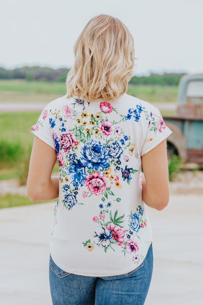Always The Right Pick Floral Short Sleeve Top in Ivory - Filly Flair