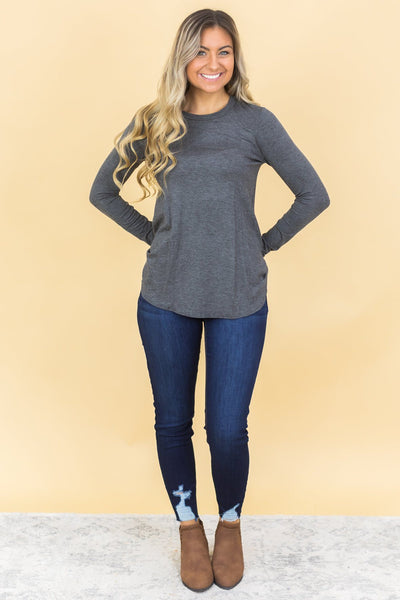 New Day Long Sleeve Top in Charcoal - Filly Flair