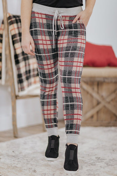 *DEAL* Cozy Holiday Plaid Elastic Waist Legging Sweatpants in Black Taupe - Filly Flair