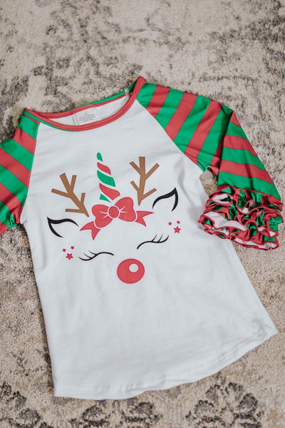 KIDS: Reindeer Cuteness Striped Ruffle Long Sleeve Top in Red Green - Filly Flair