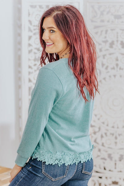 Right Amount Of Lace Long Sleeve Top in Teal - Filly Flair