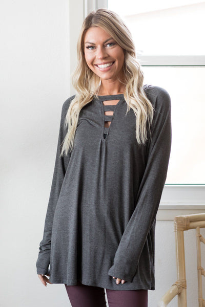 Start Fresh V-Neck Cutout Long Sleeve Top in Charcoal - Filly Flair