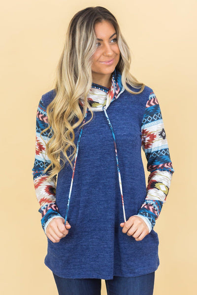 Southern Breeze Aztec Cowl Neck Long Sleeve Top in Navy - Filly Flair