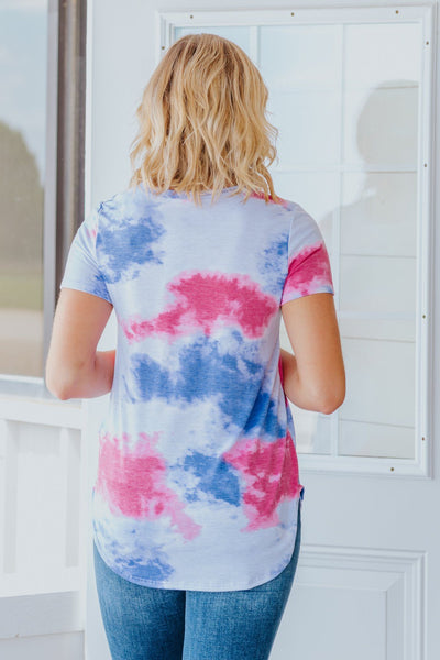 I'm Crazy About You Tie Dye Short Sleeve Top in Purple - Filly Flair