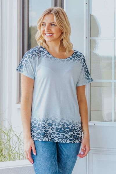 Make It Count Leopard Ombre Round Neck Short Sleeve Top in Grey Blue - Filly Flair