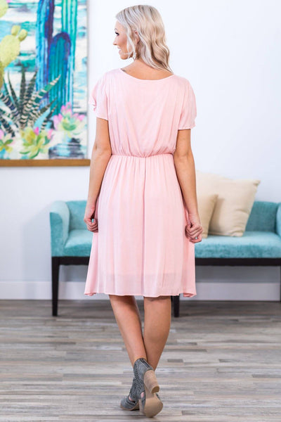 Here at Last Short Flutter Sleeve V-Neck Dress in Light Pink - Filly Flair