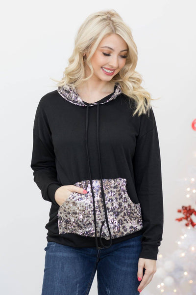 Everything I Do Sequin Detail Long Sleeve Hooded Top in Black - Filly Flair