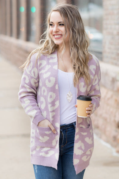 Stand Tall Sweater Animal Print Cardigan In Lavender - Filly Flair