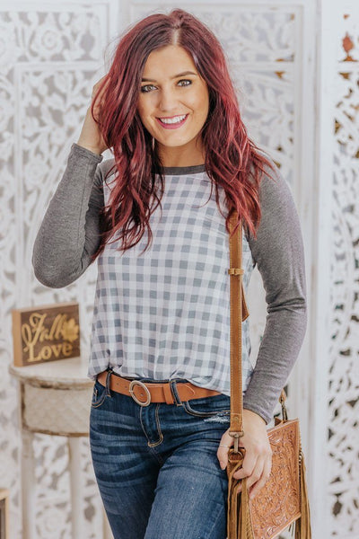 Afternoon Picnic Long Sleeve Checkered Top in Charcoal - Filly Flair