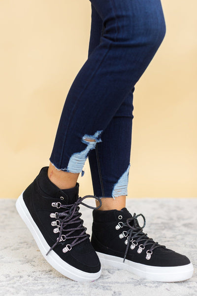 Dance All Night Long Black Sneakers With Silver Accents - Filly Flair