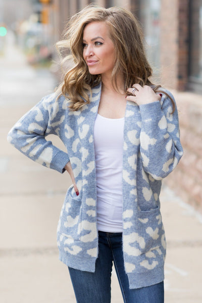 Stand Tall Sweater Animal Print Cardigan In Steel Blue - Filly Flair