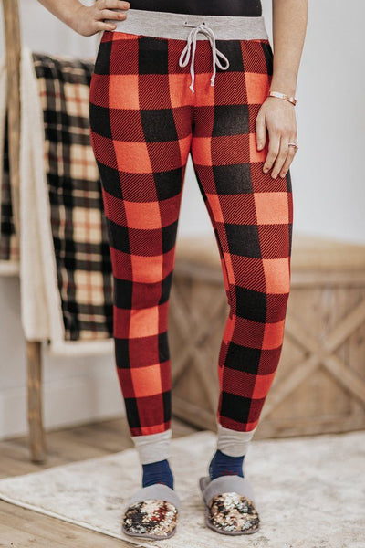 King Me Plaid Elastic Waist w/ Strings Joggers in Red Buffalo Plaid - Filly Flair