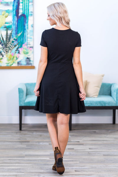 Just a Classic Short Sleeve Front Knot Dress in Black - Filly Flair