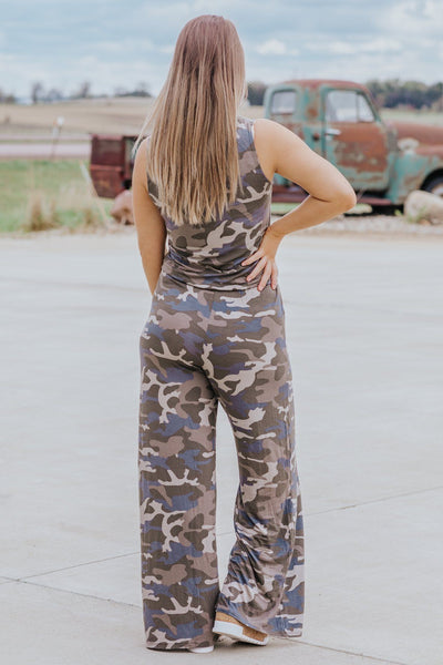 Hidden From The Truth Camouflage Sleeveless Jumpsuit in Dusty Olive - Filly Flair