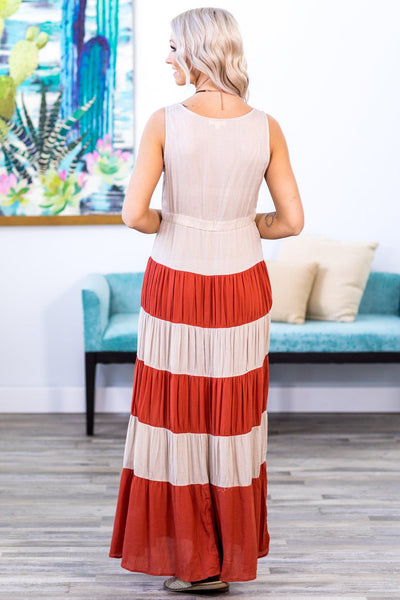 Free and Easy Color Block Sleeveless Maxi Dress in Cream & Burnt Orange - Filly Flair