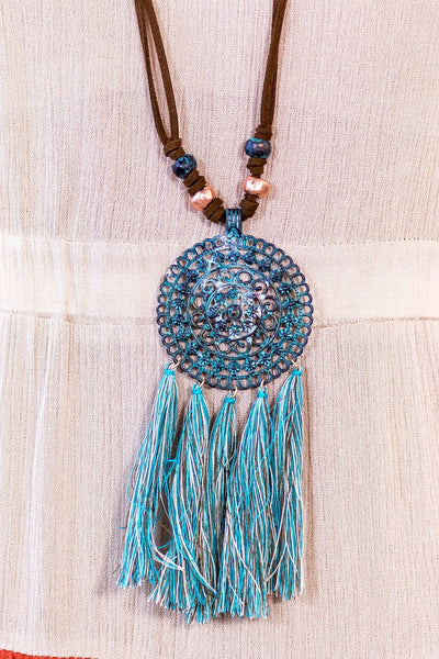 Boho Mandala Flower Pendant With Tassels Long Brown Necklace - Filly Flair